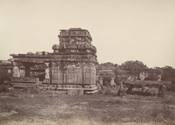 Iwullee. Temple and cromlech outside the town. [Aihole.]